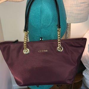 CALVIN KLEIN Burgundy Tote Bag Purse Nylon/Leather